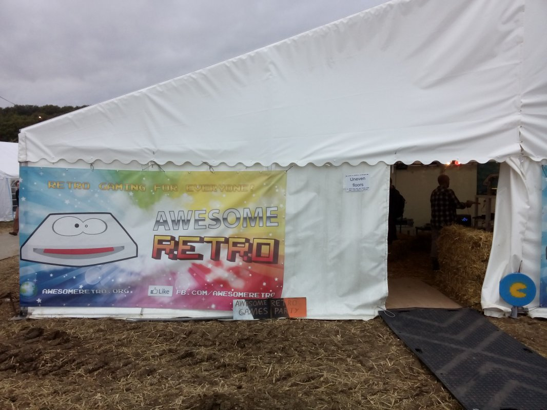Outside the retro gaming tent