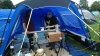 A lathe in a tent
