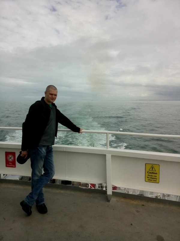 Jelle at the stern