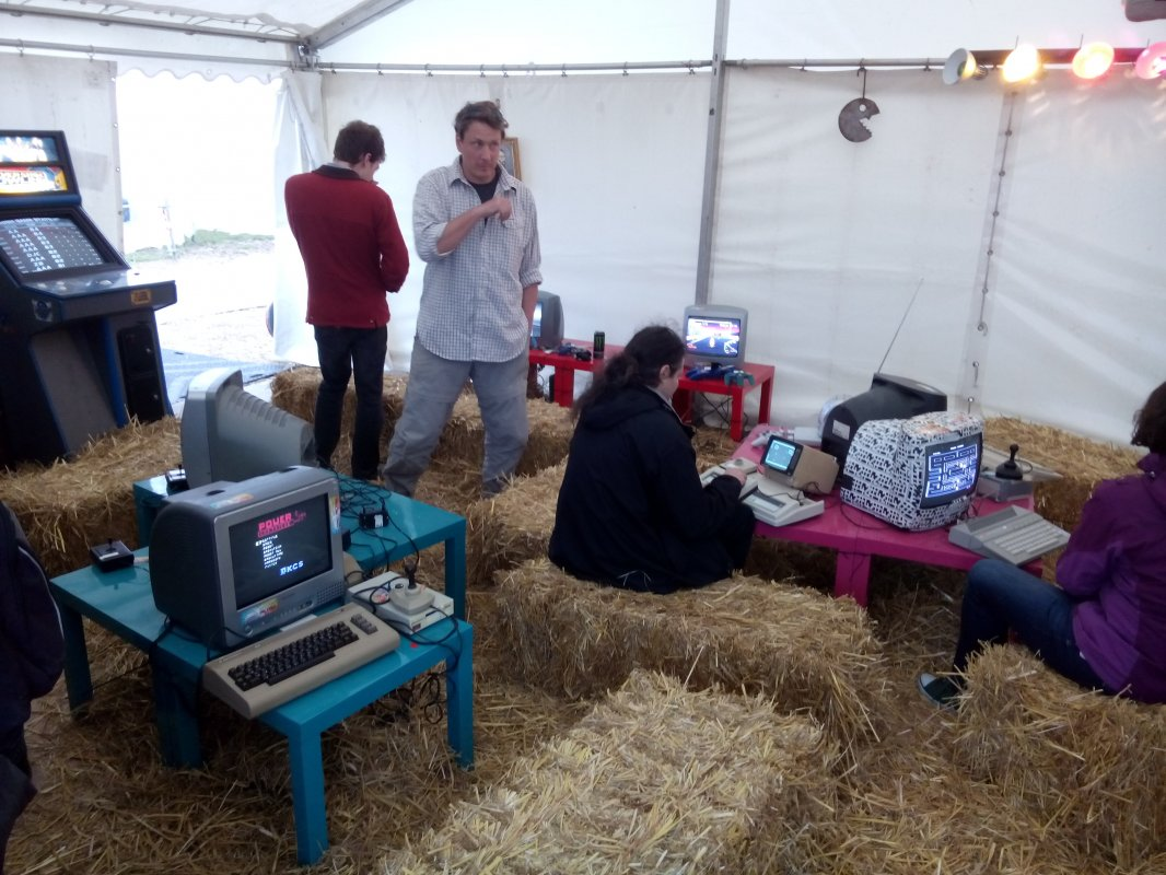 Inside the retro gaming tent