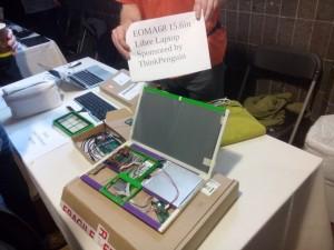 3D printed, Allwinner A10 module and cardboard laptop.